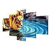 LyMei 5 Pcs-Leinwand Gemälde Wand Kunst Lion Ölgemälde Bild Drucken auf Leinwand gestreckt und gerahmt Bereit, Haus Dekorateure zu hängen,Size A