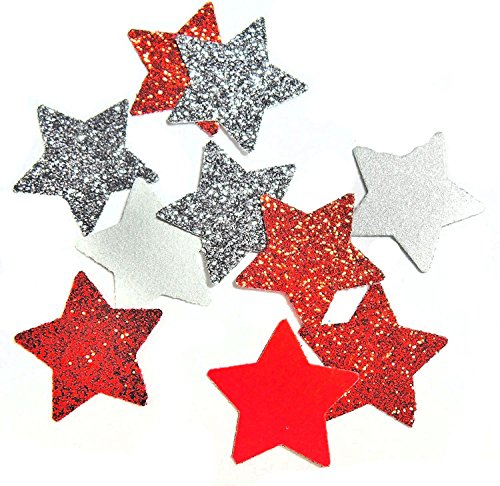 """Konfetti Stern """"silber"""" und """"rot"""" Glitter Tischdeko Weihnachten Party Weihnachtsfeier Dekor (handgemacht Konfetti)"""