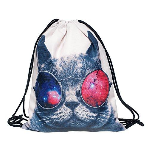 Ocona© Galaxy Cat Turn sacchetto gatto maculato Sport zaino GYMSACK iuta borsa Stringbag Hipster Sacca Borsa a tracolla, bianco