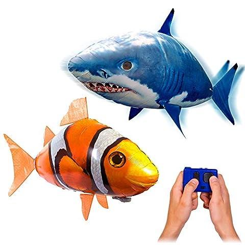 MEGA-SET bestehend aus 2 x riesengroße Fische RC R/C ferngesteuerter fliegender Fische - Clownfisch Nemo + Sharky Hai - Ferngesteuerte Riesenfische, Mit Helium gefüllt schwebt er in der Luft, Neu