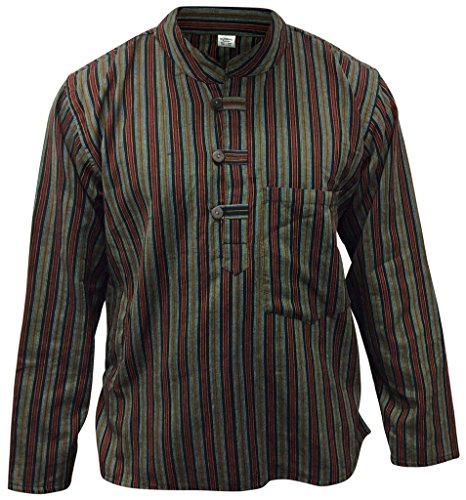 Multi farben mix dharke Streifen leicht bequem langärmlig traditionell Großvater Shirt,hippy boho,s m l xl xxl xxxl Mehrfarbig - green mix