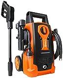 Casals C63010000 Hidrolimpiadora, 1400 W, 105 Bares, caudal máx de 6,8 l/min, Manguera a presión de 5m, dispensador de jabón Incorporado, ángulo de Spray 0-60, Naranja y Negro