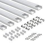 LED-Profil 6 × 1M, StarlandLed 6-Pack LED-Aluminium Profil U-Form mit Abdeckung, Endkappen und Montageclips für LED-Streifen-Lichter