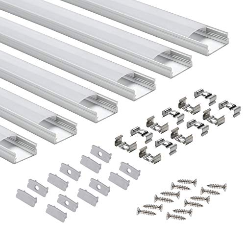 LED-Profil 6 × 1M, StarlandLed 6-Pack LED-Aluminium Profil U-Form mit Abdeckung, Endkappen und Montageclips für LED-Streifen-Lichter (Lkw-led-streifen)