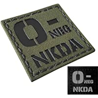 OD Green Infrared IR ONEG NKDA O- Blood Type 2x2 Olive DrabTactical Morale Fastener Patch