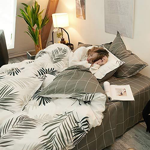 PRG Bettwäsche-Set 4-teilig Baumwolle Reißverschluss Bett-Bezug Kissen-Bezug Bett-schwarz Weiß Einzel Twin Queen Size Für Jungen Kind Baby Bettbezug Set Baumwolle Tröster Bett Set Königin Full Size -