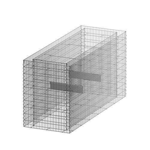 bellissa Gabionen-Hochbeet PREMIUM 4-Eck – 95596 – Steinkorb-Pflanzkübel rechteckig – Bausatz inkl. Trennfolie – 200 x 75 x 100 cm