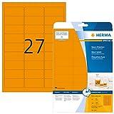 Herma 5141 Neonetiketten signalstark (63,5 x 29,6 mm auf DIN A4 Papier matt) 540 Stück, neon-orange, selbstklebend, PC-bedruckbar