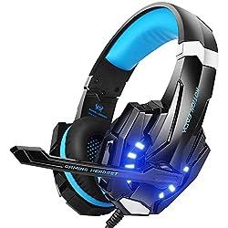 EasySMX Micro Casque PS4 Gaming, Casque Audio Stéréo Basse avec LED lumière, Casque Gaming Bien Anti-Bruit, Casque Gamer Confortable Compatible pour PS4/PC/Laptop/Tablette/Smartphone (Noir+Bleu)