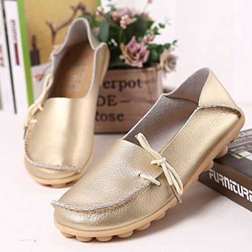 AFFINEST ocassins Femmes Loisirs Confort Chaussures Plates Loafers en PU Cuir Chaussures de Conduite,20 Couleurs d'or