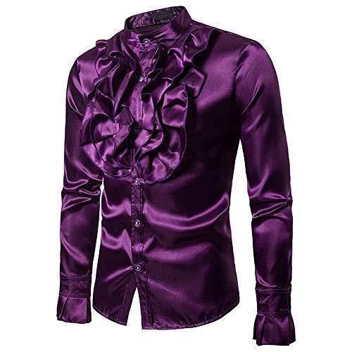 Hemden für Männer Regular Fit, Mens Floral Shiny Kostüm Slim Fit Stehkragen Langarm Button Down Shirt für Disco Party Bankett Bühnen Performance Masquerad (Farbe : Lila, Größe : XL) -