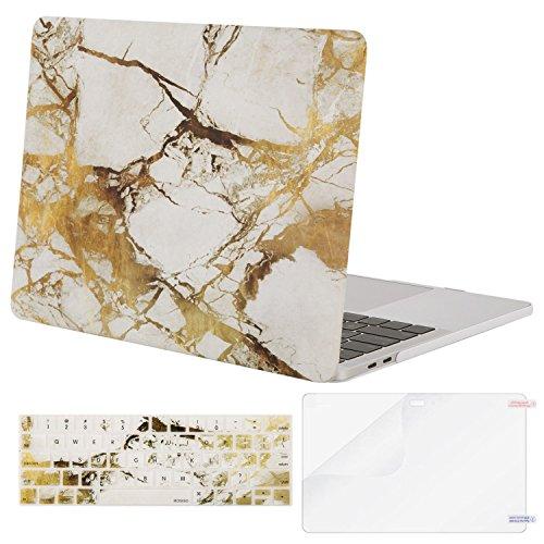 MOSISO MacBook Pro 15 Hülle A1990/A1707 Touch Bar, Hartschalen- und Tastaturabdeckung mit Kunststoffmuster und Displayschutzfolie für den neuesten Mac Pro 15 Zoll, Weiß und Goldmarmor (Pro Mac Neueste)