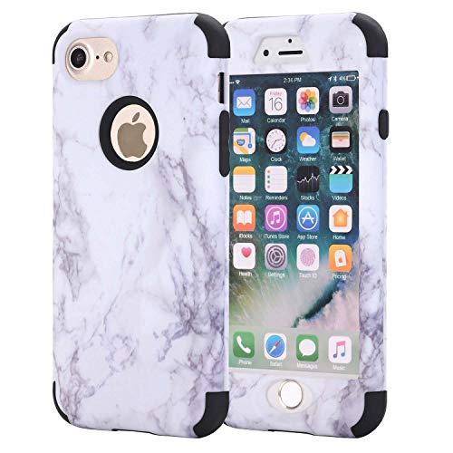 iPhone 6Plus Case, aoker Marmor Design Slim Dual Layer Kratzfest stoßfest Hard Back Cover Soft Silikon Schutzhülle passgenau für iPhone 6Plus 6S Plus 14cm, schwarz - Sechs Otterbox Gelb Iphone