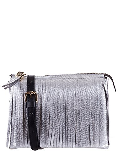 GUM BY GIANNI CHIARINI BORSA TRACOLLA LATTICE ARGENTO FRANGE, 3689.GUM