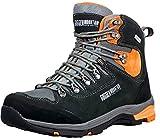 GUGGEN Mountain PM026 Herren Trekking-& Wanderstiefel Wanderschuhe Trekkingschuhe Outdoorschuhe wasserdicht mit Membran und Wildleder Farbe Schwarz-Orange EU 44