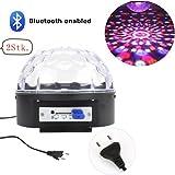 Besmall 2Stk. 18W Bluetooth LED RGB Bühnenbeleuchtung Discokugel Bühnenlicht mit EU-Stecker Kristall Magic Ball Weihnachten Partylicht