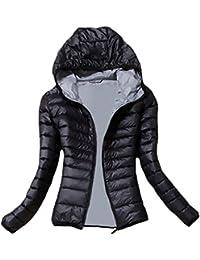 Donna Giacca Piumino Invernale Elegante con Cappuccio Manica Lunga Chic  Slim Fit Moda Casual Neve da Sci Calda Autunno Giacche… 489622b53b9