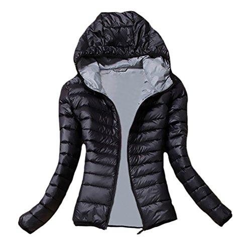 Donna Giacca Piumino Invernale Elegante Con Cappuccio Manica Lunga Chic Slim Fit Moda Casual Neve Da Sci Calda Autunno Giacche Giubbotto Cappotto Ragazza (Color : Nero, Size : L)