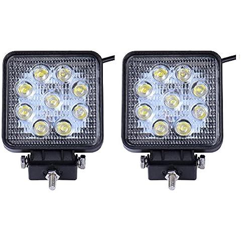 MCTECH 2 X 27W Piazza FARO DA LAVORO LUCE DI PROFONDITA' A LED 27W 12V 24V LED Lampada Lavoro Offroad Faro SUV UTV ATV di retromarcia IP67