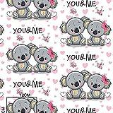 100% Baumwolle Baumwollstoff Kinder Kinderstoff Meterware Handwerken Nähen Stoff Tiermotiv 100x160cm 1 Meter (Koala You & Me)
