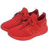 AiSi Damen/Mädchen Sportschuhe Runners Sneakers Laufschuhe Turnschuhe Straßenlaufschuhe - Atmungsaktives Mesh - Rot Größe 38