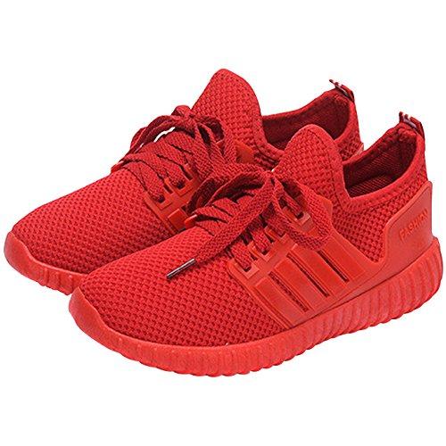 3d322f431a3780 AiSi Damen Mädchen Sportschuhe Runners Sneakers Laufschuhe Turnschuhe  Straßenlaufschuhe - Atmungsaktives Mesh - Rot Größe