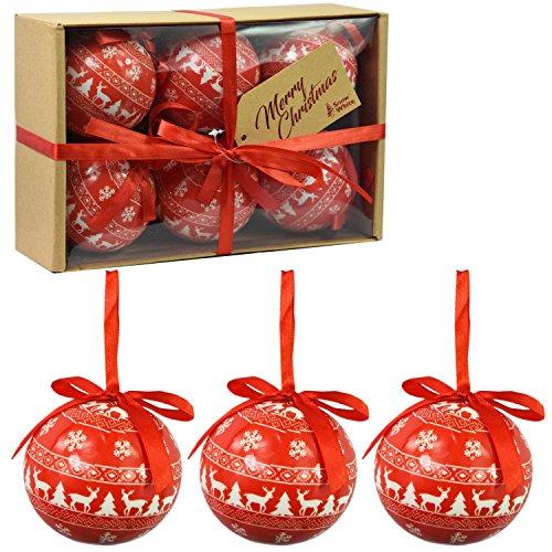 Set di 6 baubles di Natale di lusso Decorazione di albero tradizionale Natale Balls Festive Tema (Red Baubles Nordic)