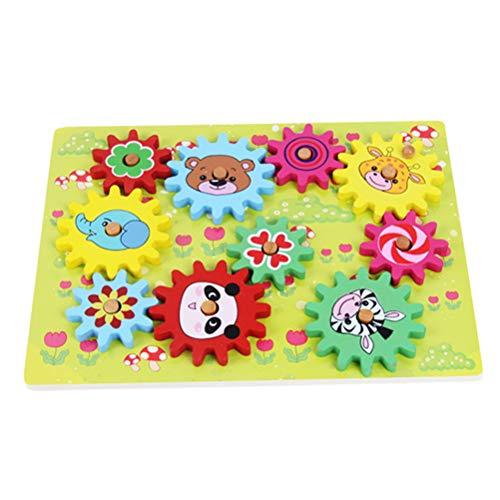 TOYANDONA Zahnräder Spielzeug Wald Tiermuster Puzzle Holz Spinning Zahnräder Zahnräder für Kinder Kleinkind -