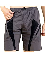 Santic Pantalones Cortos de Padded Coolmax de Ciclismo para Hombres Gris Talla XL