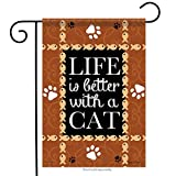 Carson Home Accents FlagTrends 46791 Life is Better with a Cat Classic Outdoor Garden Flagge