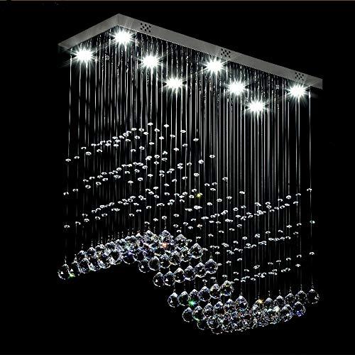 KESAI HomeDeco Moderne k9 kristall Regentropfen kronleuchter Beleuchtung, unterputz led deckenleuchte, rechteckige pendelleuchte für esszimmer und Wohnzimmer, 60 cm * 20 cm - Moderne Rechteckige Kronleuchter