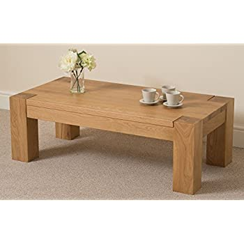 Kuba Chunky Solid Oak Large 120 X 40 X 60 Cm Coffee Table