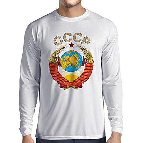 Langarm Herren t shirts СССР Russisches Flaggenhemd der Sowjetunionshemd (XX-Large Weiß
