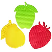 TKH Silicone Teapot Trivets Hot Pads, Set of 3, Red, Green & Yellow