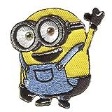 Aufnäher/Bügelbild - MINIONS 'BOB HALLO!' - gelb - 6,5x6cm - by catch-the-patch Patch Aufbügler Applikationen zum aufbügeln Applikation Patches Flicken
