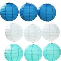 JTC 9pc Lanterne en Papier Lampion avec Fer Décoration de Maison/de Fête--3pc Bleu Foncé+3pc Blanc+3pc Bleu Clair (diamètre :20CM)