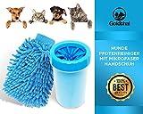 Goldthal Hunde Pfotenreiniger mit Mikrofaser Handschuh, Keine schmutzige Pfoten mehr, schnell und gründlich reinigen,weiche sanfte Borsten (normal/klein)