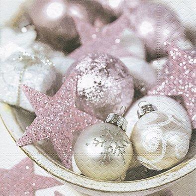 20 Servietten 33 x 33 cm Weihnachten Kugeln Sterne pink silber rosa Weihnachtsmotiv Weihnachtsstern