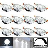 Hengda 12X 5W LED Einbauleuchte Dimmbar Kaltweiß Silber Matt für das Bad geeignet Innenbeleuchtung 230v  Rund  Einbauspot  Deckenleuchten