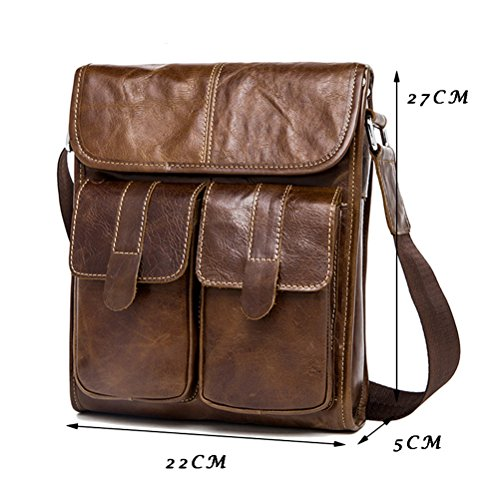Zhuhaitf Leder Mens Boyfriend Soft Lightweight First Cowhide Leather Holiday Hiking Crossbody Shoulder Bag Briefcase Birthday Gift Present Black
