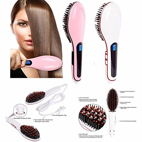 Flying Birds Fast Hair Straightener Brush with Temperature, 464466966 (Pink)
