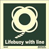 Pegatina señal OMI 104107 - IMPA 334107 vinilo fotoluminiscente. Aro salvavidas con rabiza// IMO sign symbol label Lifebuoy with line (15x15cm) photoluminescent vinyl