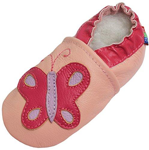 Carozoo Papillon Rose (Butterfly Pink), Chaussures Bébé Semelle Souple Fille