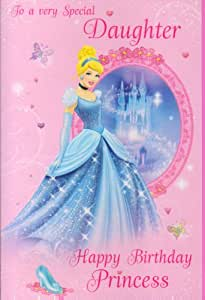 Disney Princess Special Daughter Glitter Birthday Card