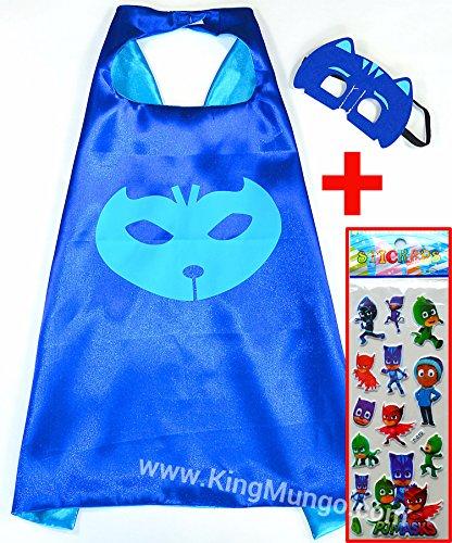 PJ Masks CATBOY Cape und Maske + Aufkleber! Umhänge Superhelden-Kostüme für Kinder - Verkleiden & Kostüme Spielzeug Jungen und Mädchen Motto-Partys! - King Mungo - (Kostüm Rocky Jungen)