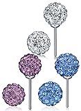 Unendlich U 925 Sterling Silber 6PCS Weiß/Lila/Blau Shamballa Kristallkugeln Ohrstecker Gestüt Stecker Ohrringe Set Ohrschmuck für Damen Mädchen, 3 Paare