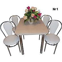 All4all 2 Stühle Küchenstühle + 2 Hocker Ahorn