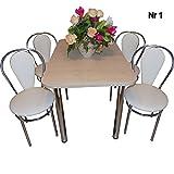 all4all Design Esstisch Küchentisch Bistrotisch mit Chromfuß 100x60 2 Stühle + Hocker