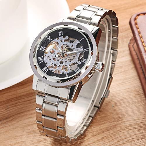 Liandd Handaufzug mechanische Armbanduhr Silber Armreif transparentes Skelett Uhren männliche Business-Uhr, (Damen Skelett-uhr Fossil)