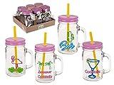 OOTB Trinkglas-Set mit Strohhalm, Verschiedene Varianten (Kaktus bunt, 6)